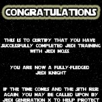 It's Partabulous Jedi Training Certificate